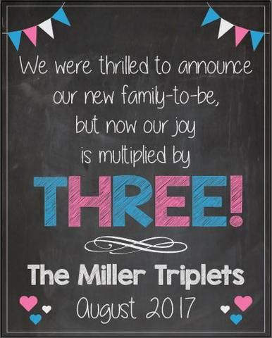 Triplet Pregnancy Announcement Sign PRINTABLE new baby chalkboard poster multiples twins