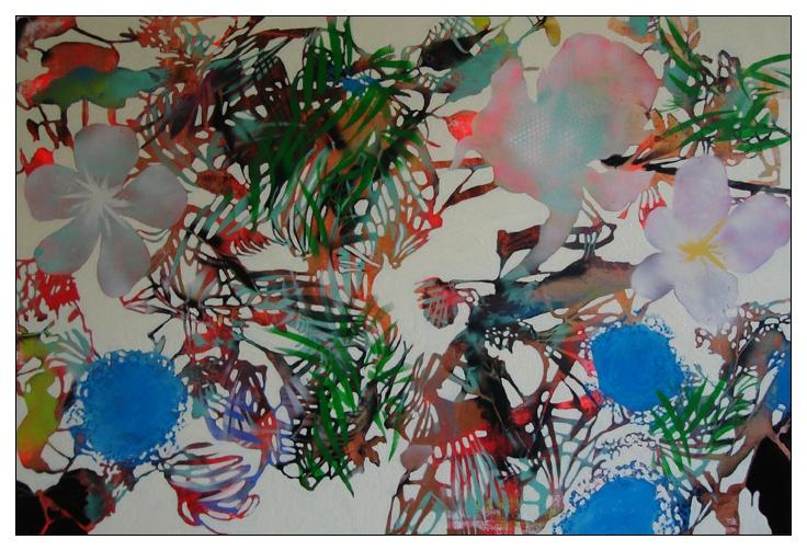 Oil and spray on canvas  120x180 cm.