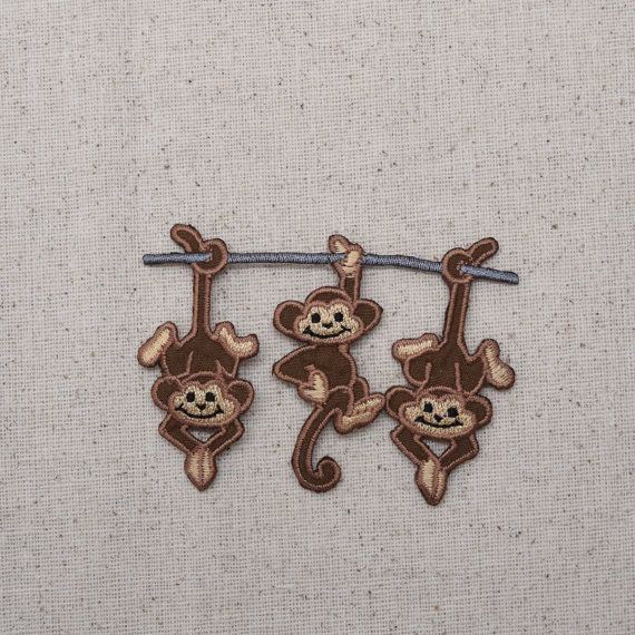 Les trois singes - traîner sur une branche - fer sur Applique - brodé Patch - 632281-C
