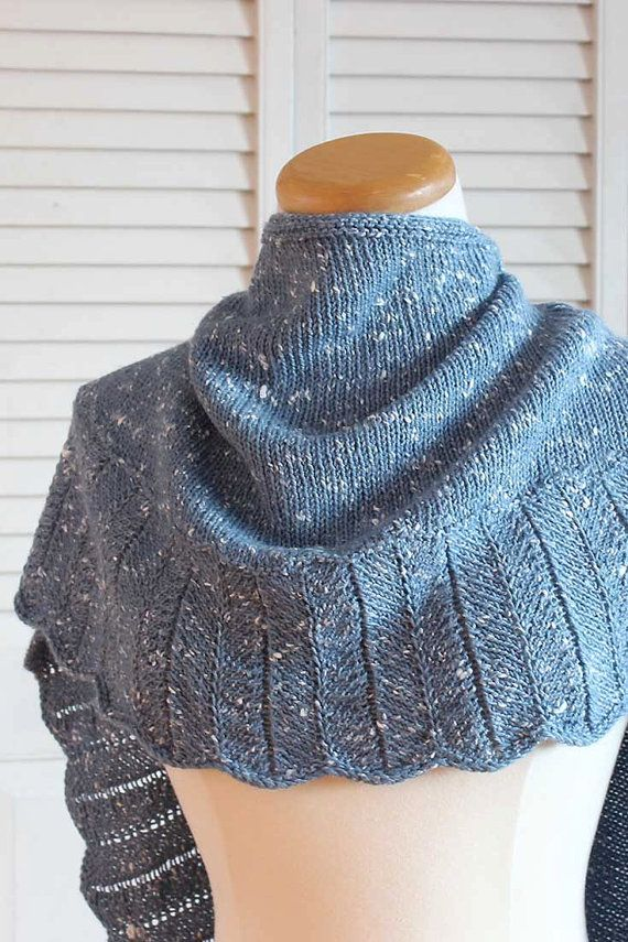 Knitting Pattern Shawl - The Tweedy Shawl in Blue Wool ...