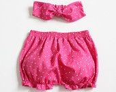 Baby Bloomers and headband set in fuchsia pindots