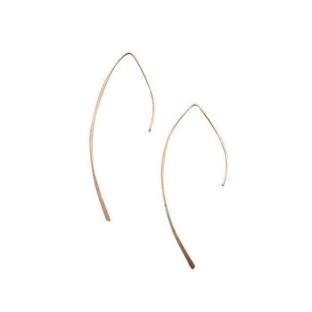 Arced gold ear threader earrings