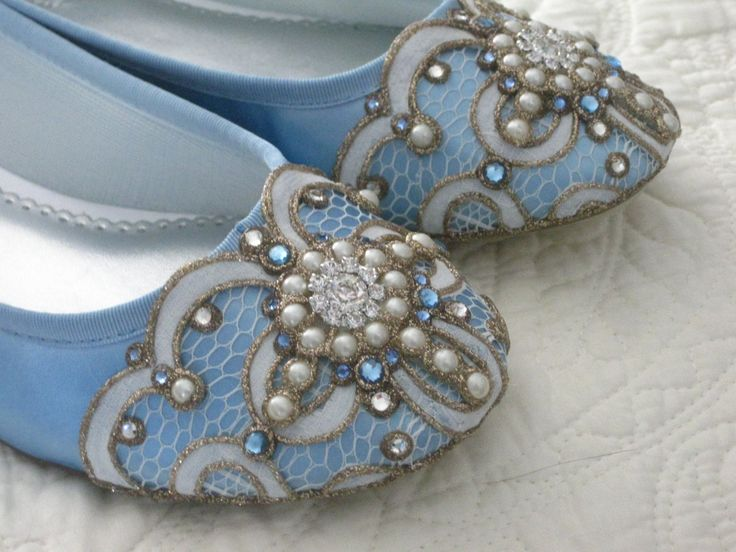 Wedding shoes? Sky Blue Celtic Looping Lace Ballet Flat Wedding Shoes - Any Size - Pick your own shoe color and crystal color. $155.00, via Etsy.