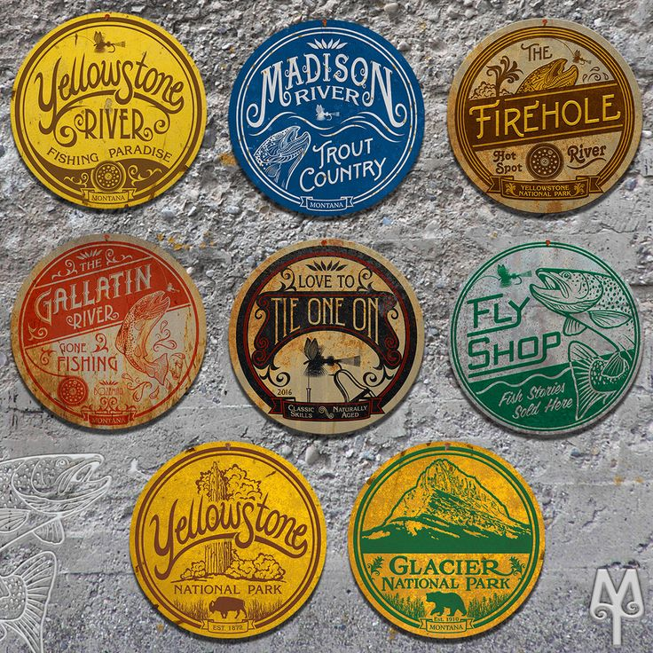Montana Fly Fishing and National Park Wall Signs by Montana Treasures. Collect them all!