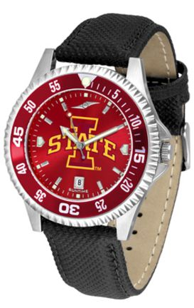 Iowa State Cyclones Competitor AnoChrome Men's Watch with Nylon/Leather Band and Colored Bezel