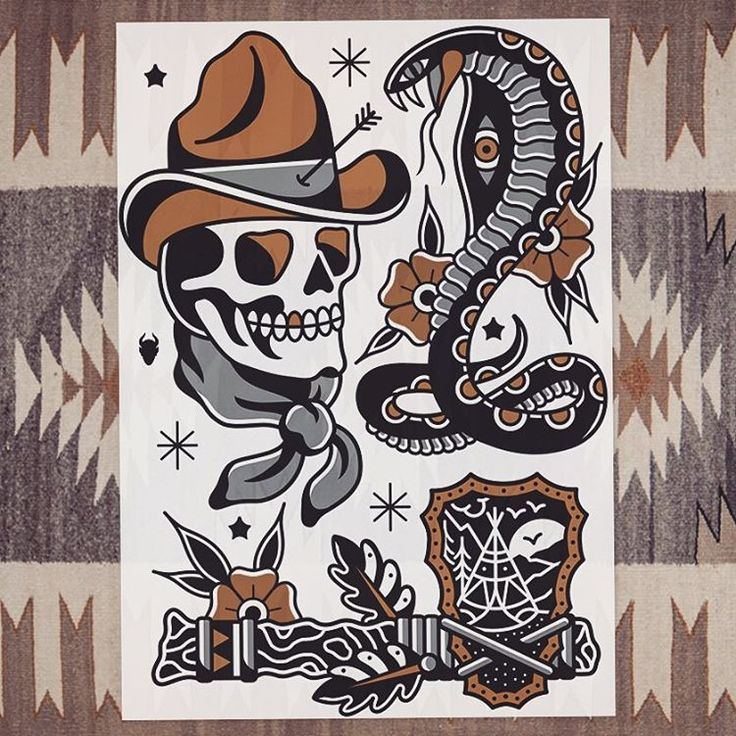 Something new for sale ☠☠ #tattoo #tattoos #tattooflash #traditional #traditionaltattoo #derickjames #classictattoo #cowboytattoo #snaketattoo #design #illustration #art