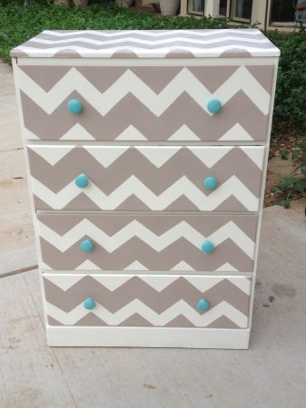 Hand painted chevron.. would be pretty in coral with turquoise knobs.. need to just do this..
