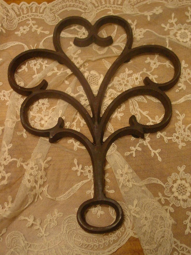 Vintage Wrought Iron - Trivet - Rustic Trivet - Industrial Salvage - Wall Decor - Scrolled Iron by EdenCoveTreasures on Etsy