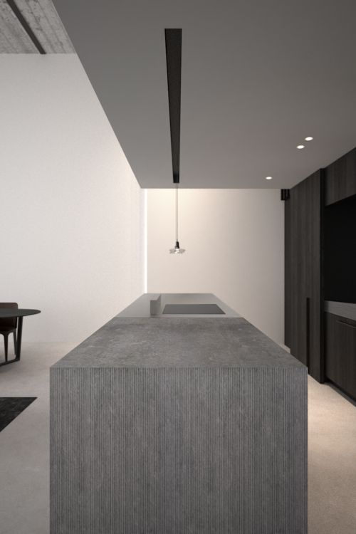 AD Office Interieurarchitect   Dark Planked Oak Kitchen In Combination With  Bluestone And Brushed Aluminium Countertop. Pendants By Brokis.