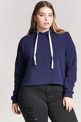 32661b7f479 Plus Size Boxy Raw-Cut Pullover Hoodie Plus Size Workout