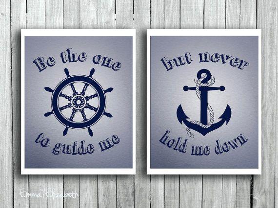 Tipografia arte stampa essere quella che mi guida citazione d'ispirazione nautica Wall Decor regalo Blu Navy per ruota ancoraggio nave bambino