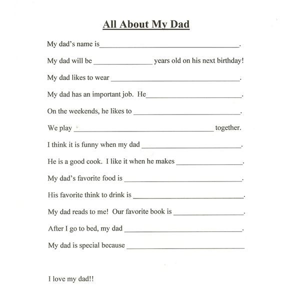 father's day activities for 4th graders