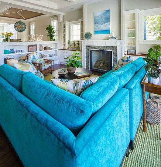 Blue Sofa Ideas... http://www.completely-coastal.com/2017/01/blue-sofa-decor-ideas.html