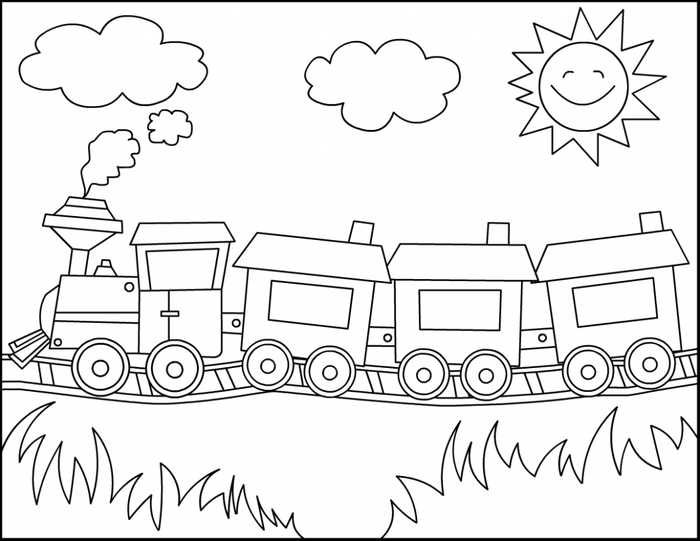 Easy Coloring Pages For Kids And Toddler Train Coloring Pages