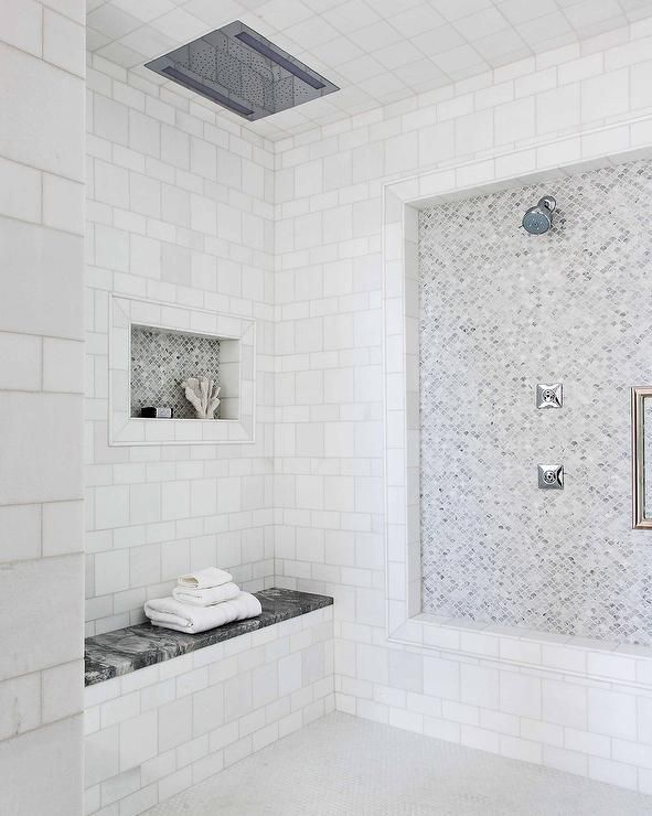 Large Walk In Shower Designed With Small Fan Shaped Marble Tiles