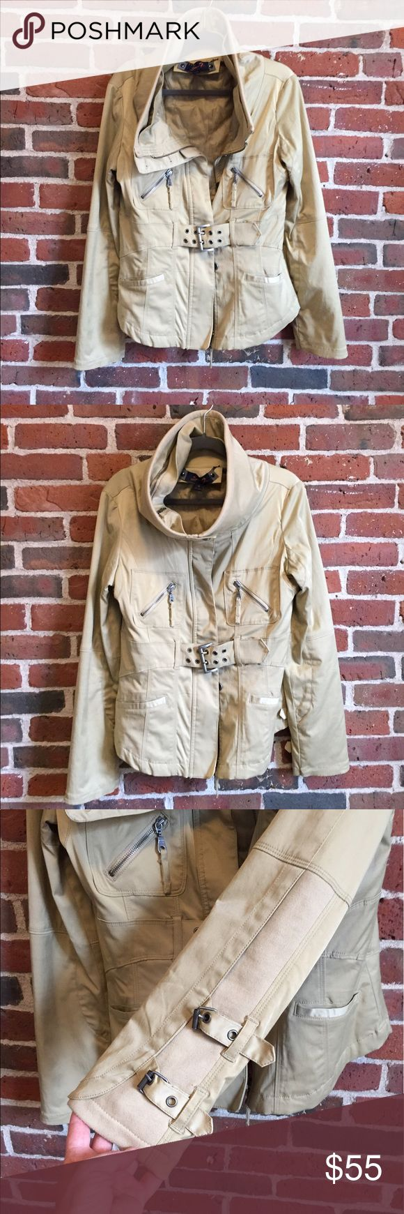 Safari/Cargo style jacket Loads of cool details on this jacket. Thick exterior with a quilted lining that snaps in and out for colder temps. Never worn. Excellent condition. Seven7 Jackets & Coats