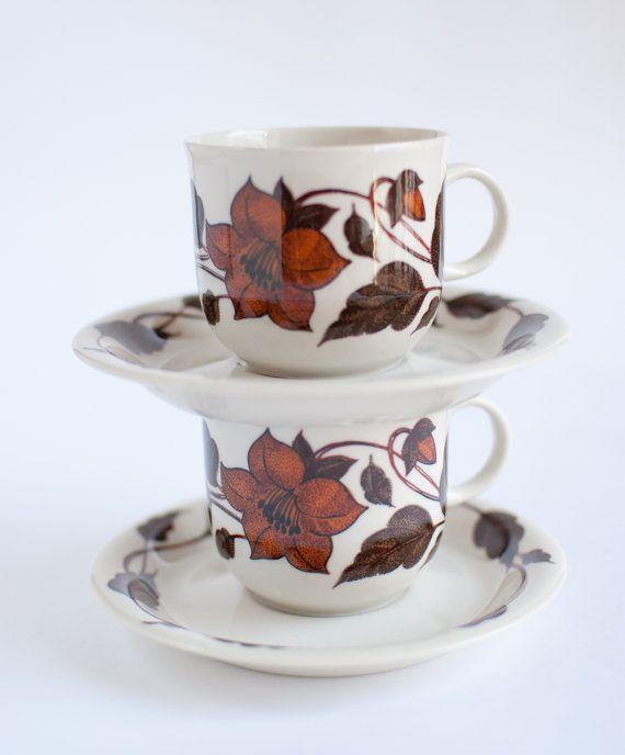 ARABIA FINLAND 'Café' Coffee Cups, OneLittleBirdShop on Etsy, £14.00