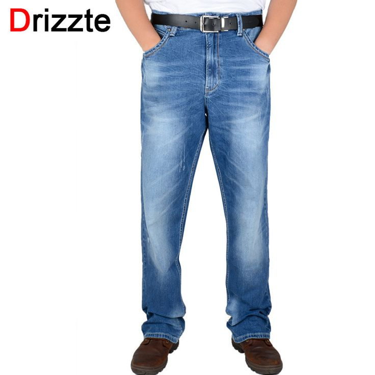 Drizzte Brand Mens Jeans Linght Blue Denim Stretch Jean Waist Big Plus Size Trousers Pants For Men