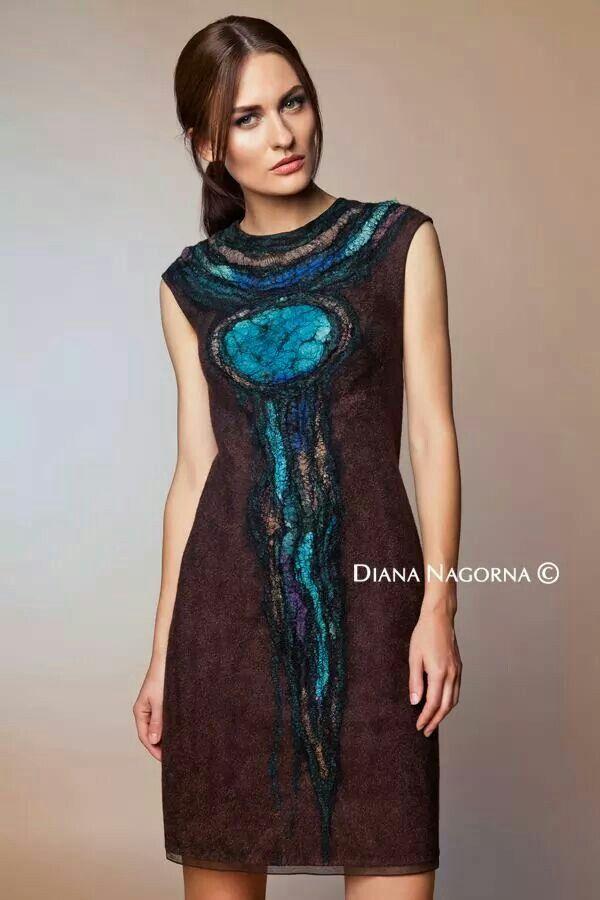 Felt dress, Nuno-felt dress, brown and turquoise dress, thin woolen dress…