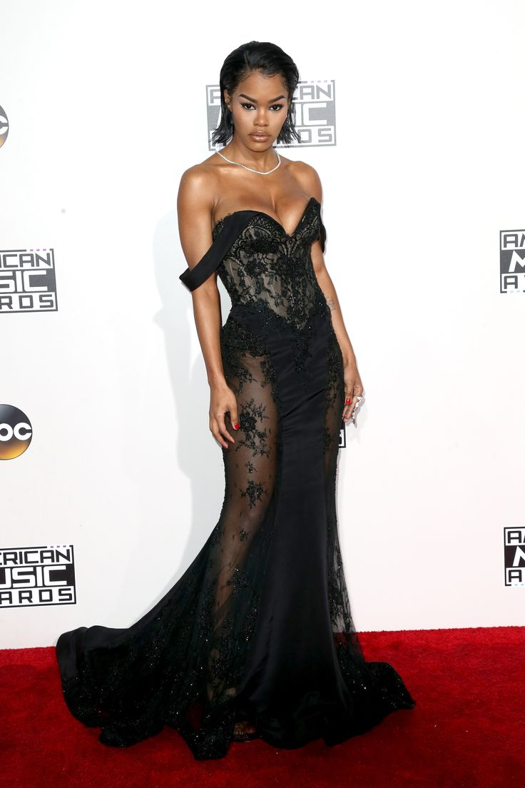 Teyana Taylor in a sheer and lace black number that oozes style