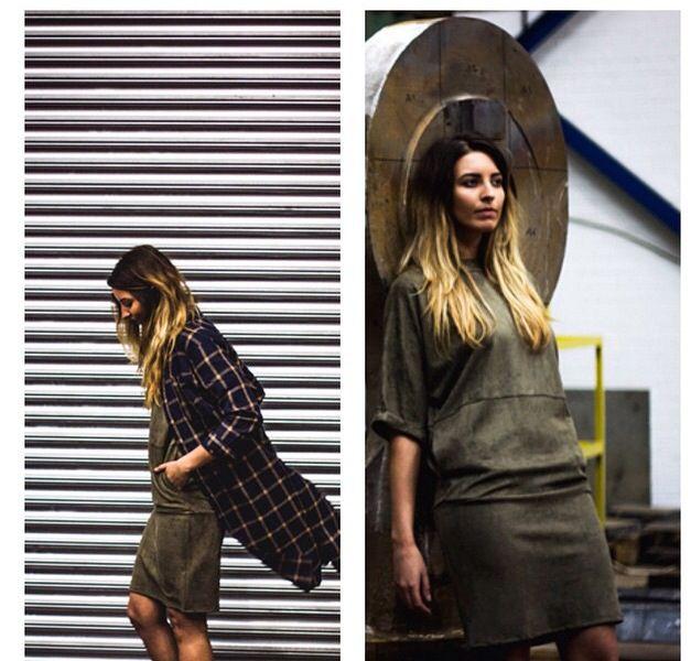 Deni oversized dress now available at #NOORA #style #oversized #fashion #UAE #khaki #blogger