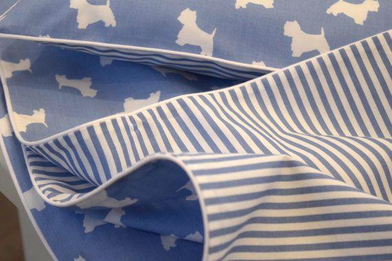 NEW 100% COTTON Children's Cot Bed Duvet Cover Set Blue &