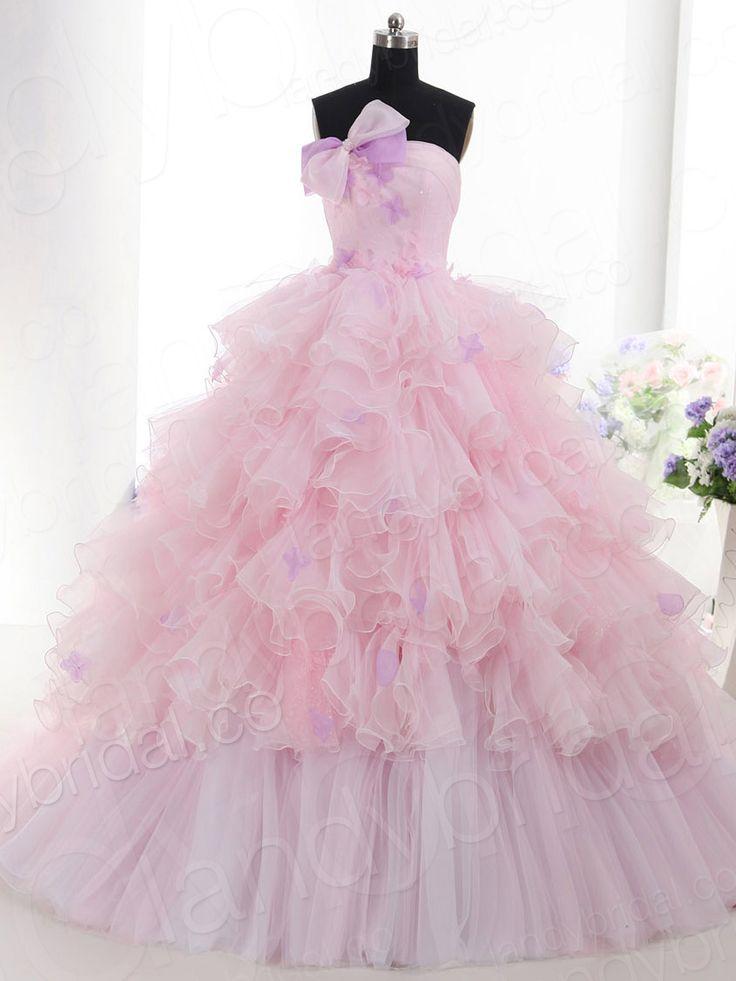 カラードレス プリンセス ビスチェ コートトレーン オーガンジー ピンク 豊富なフリル LD2367  ¥68,600