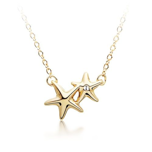 Designer Double Starfish Pendant - Gold Plated