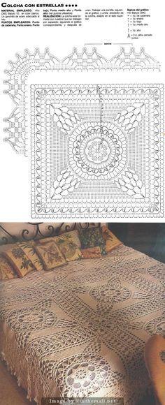 Crochet Star Squares Bedspread ~~
