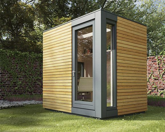 """The Micropod is a small garden studio, measuring only 2.5 x 2.0m. It looks cool. """"Specifically designed as the ideal solution for homeworkers, their compact design means they will fit unobtrusively into most gardens. The walls and ceilings can be finished with modern white beech panels and the engineered timber or natural rubber floor comes complete with low energy Scandinavian underfloor heating. Similar to our other pods, contemporary large frameless rooflights with self cleaning glass…"""