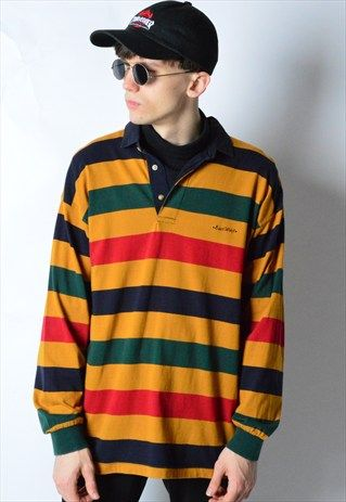 VINTAGE 90S COLOURFUL STRIPED LONG SLEEVE POLO SHIRT
