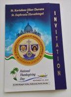 Invitation Canonization ST. KURIAKOSE ELIAS CHAVARA - ST. EUPHRASIA ELUVATHINGAL Kakkanad Kochi Kerala Santino Holy Card - Imágenes Religiosas