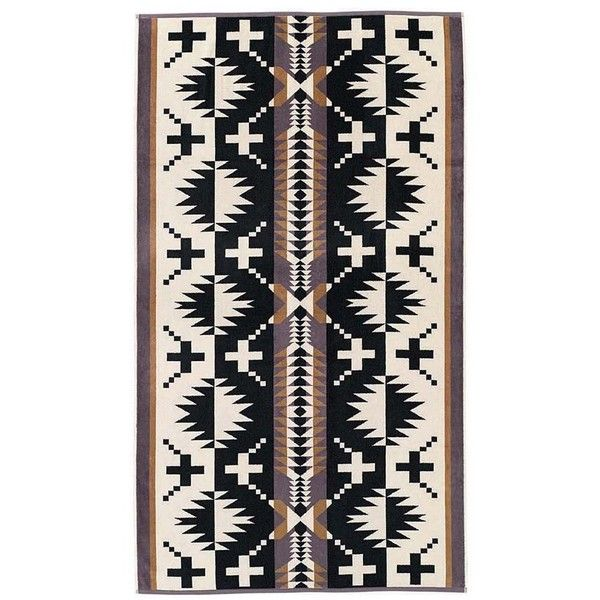 Pendleton Jacquard Towel - Spider Rock (2 290 UAH) ❤ liked on Polyvore featuring home, bed & bath, bath, bath towels, cotton beach towel, jacquard beach towels, black and white beach towel, oversized beach towels and pendleton