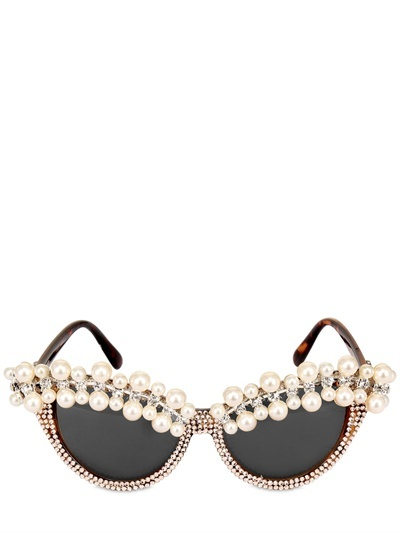 A-MORIR PEARL AND CRYSTAL PAVE' SUNGLASSES
