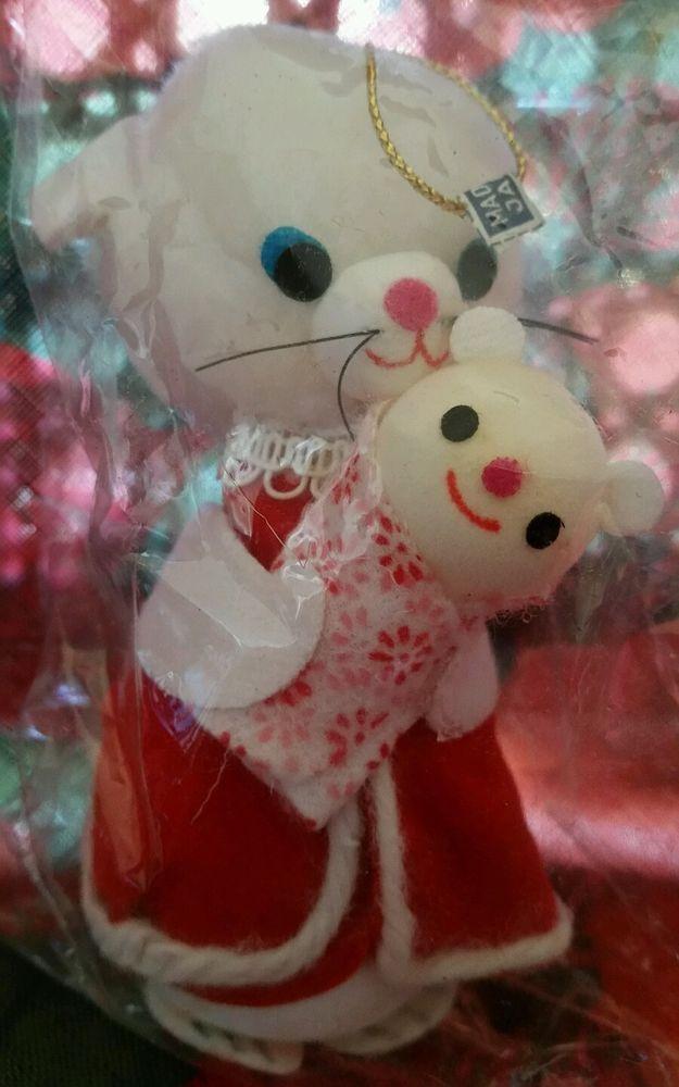 "Vintage Mid Century Cat & Baby Kitten Christmas Ornament  ""Old Store Stock"" MOD!  | eBay"