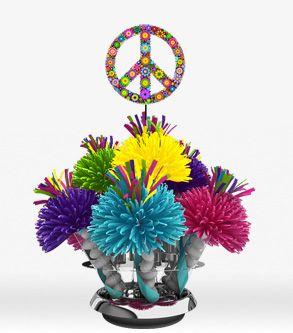 60's Hippie Flower Power Peace Symbol Centerpiece