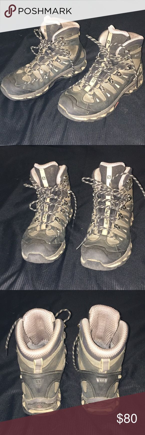 Salomon Hiking boots men's size 8 fits women's 10 Black and gray. Waterproof. Comfortable. Great Condition. Ortholite soles. With contagrip . Salomon Shoes Athletic Shoes