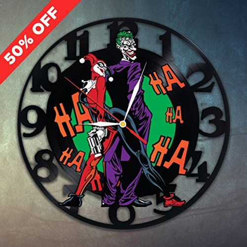 Harley quinn joker love vinyl record clock wall art home for Harley quinn bedroom ideas