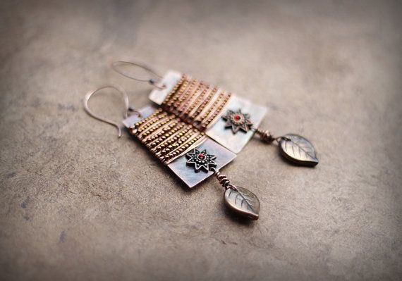 Boho Copper Earrings Bead-Wrapped Bohemian Earrings by Triballa