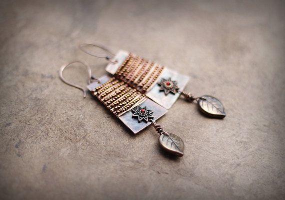 Boho Copper Earrings Bead-Wrapped Bohemian Earrings by Triballa