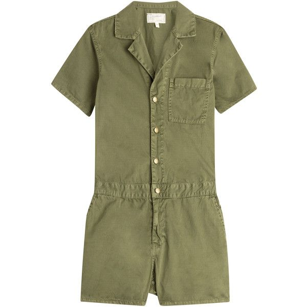 Current/Elliott The Engineer Cotton Jumpsuit ($135) ❤ liked on Polyvore featuring jumpsuits, dresses, green, jump suit, green jumpsuit, cotton jumpsuit, jumpsuits & rompers and current/elliott