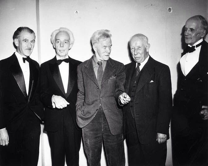 Group of Seven members (L-R) AJ Casson, Lawren Harris, Frederick Varley, AY Jackson, and Arthur Lismer in Toronto at the AGO opening for the Lawren Harris exhibition, October/November, 1948. Photo by W.O. Crompton © http://www.unirioja.es/listenerartcriticism/essays/essay-Wyndham-Lewis-on-Canadian-Painters.htm