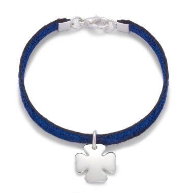 Lucky christmas - 36£ #blue #bracelet #christmas #silver #present #velvet #clover