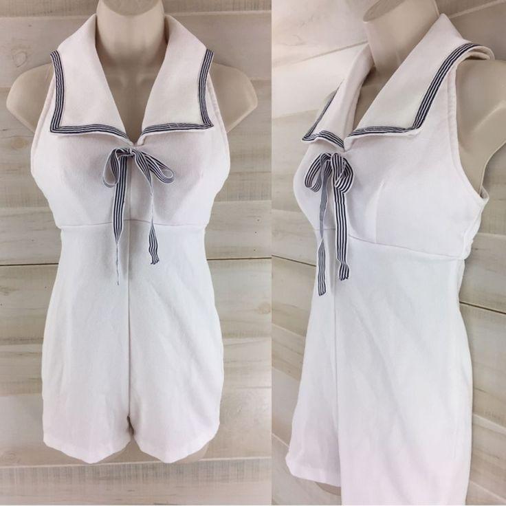 Vintage 70s white blue nautical playsuit short set backless sailor summer S M #Jumpsuit #Casual