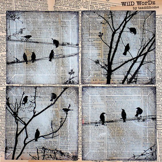 Birds on a Wire Handmade Glass Wall Decor from Upcycled Dictionary page book art – WilD WorDz – Carriers of the Word No. 1