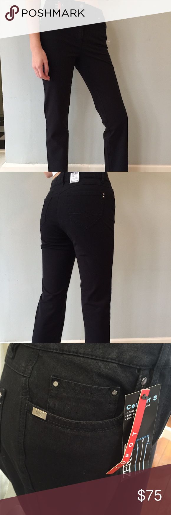 """Zerres Women's Jeans in Black The Cora style of Zerres Women's Jeans in solid black.  Straight let in a lightweight and soft denim.  32"""" inseam. Zerres Jeans Straight Leg"""