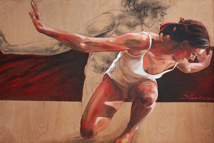Anna-Carien Goosen.  Ready for take-off. Acrylic on cherry wood.
