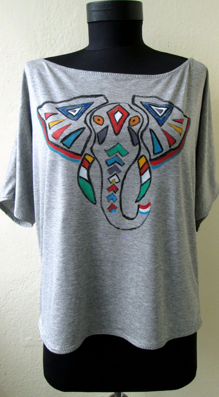 Tribal Elephant painted on t-shirt