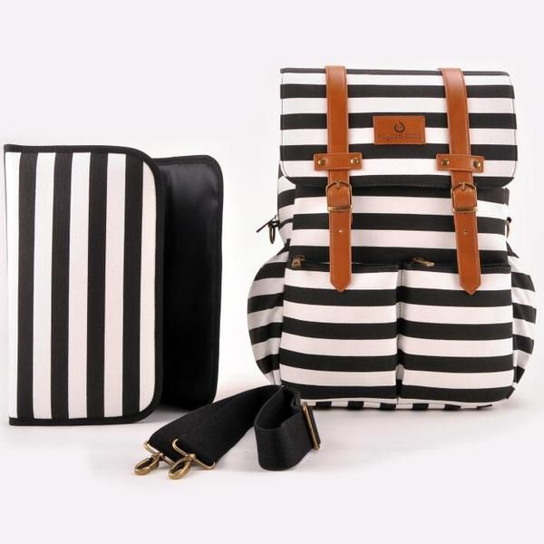 Kaydee Baby Canvas Diaper Backpack (Black and White Stripes)