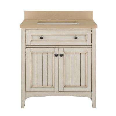 Klein 31 in. Vanity in Antique White with Quartz Vanity Top in Beige with White Basin